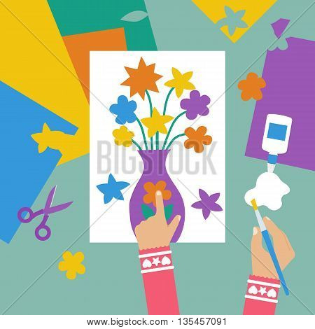 Child makes applique flowers in vase with colored paper. Vector illustration flat design. Children's creativity. Art children project. Scissors glue colored paper paint brush.