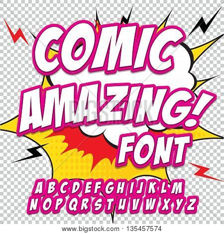 Comic alphabet set. Pink color version. Letters, numbers and figures for kids' illustrations websites comics banners.