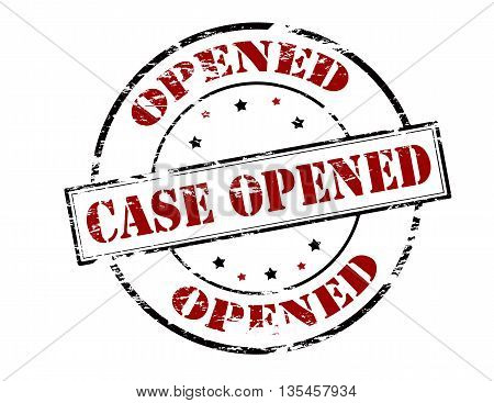 Rubber stamp with text case opened inside vector illustration