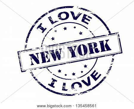 Rubber stamp with text New York inside vector illustration