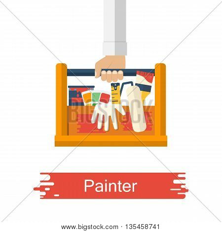 Painter holding in hand toolbox with painting tools. Set of tools for painting. Vector illustration of flat design style.