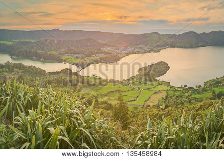Mountain landscape with hiking trail and view of beautiful lakes, Ponta Delgada, Sao Miguel Island, Azores, Portugal.