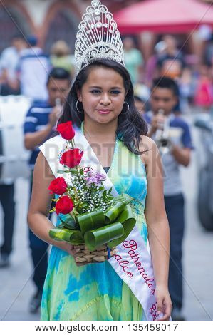 PANCHIMALCO EL SALVADOR - MAY 08 : Salvadoran girl during the procession of the Flower & Palm Festival in Panchimalco El Salvador on May 08 2016