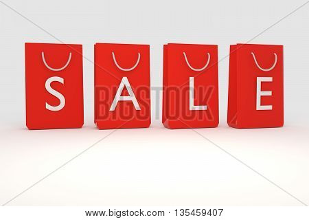 3D rendering of red sales shopping bag set