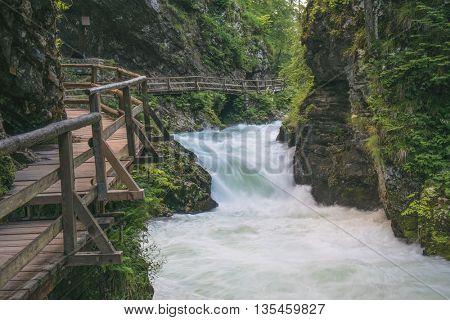 Flowing river. Vintgar Gorge, Slovenia