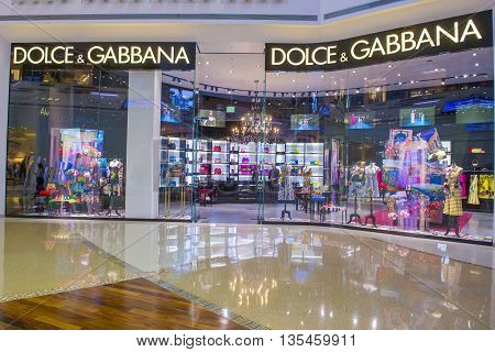 LAS VEGAS - MAY 21 : Dolce & Gabbana store in Las Vegas strip on May 21 2016. Dolce & Gabban Is a luxury industry fashion house started by Italian designers Domenico Dolce and Stefano Gabbana