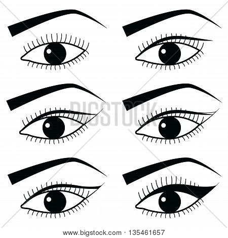Eye make up with use of  Eyeliner in Asian style  tutorial method 1,  simple black and white eyes icons set