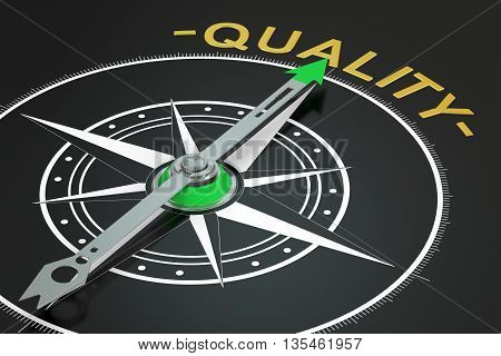 Quality compass concept 3D rendering on black background