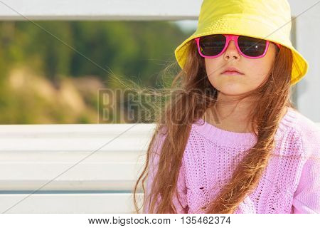 Portrait Of Girl Outdoor In Summer Time.