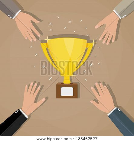Competition between businessmans for golden trophy cup. Business concept. Business or sporting achievements, the championship winner. victory. vector illustration in flat style on brown background