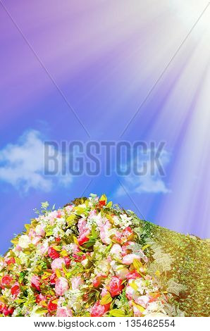 Beautiful flower installation on background of blue sky with clouds.
