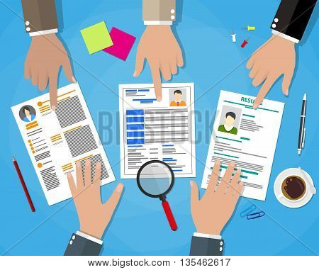 Human resources management concept, searching professional staff, work, hq, hard choice between three people, resume on desk, pen, coffee cup. vector illustration in flat design on blue background