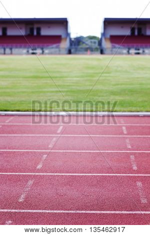 View of a running track with sport field