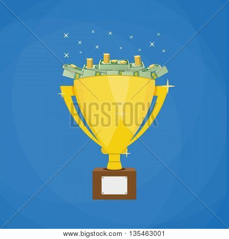 Golden winners trophy full of Dollar banknotes and coins. Business or sporting achievements, the championship winner. victory. vector illustration in flat style on blue background