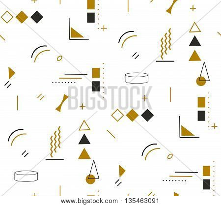 Gold fashion geometric seamless pattern in Memphis style. Simple Vector holiday wrap pattern on white background