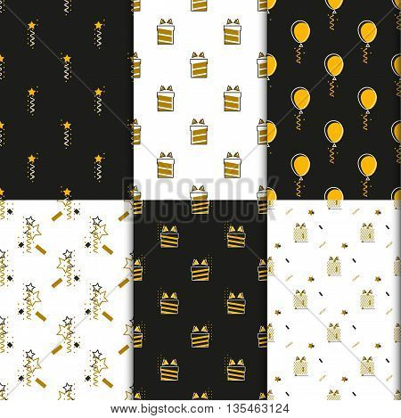 Gift wrap with boxes stars and balloons. Dark and gold seamless wrapping paper set for holidays and new year