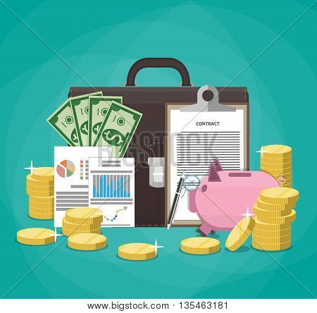Saving money. Business, finance and investment concept. Piggy Bank, coins, dollar banknotes, signed contract, financial papers, business briefcase. Vector illustration flat style on green background