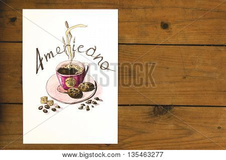 drawn cup of hot coffee americano with biscuits and scattered coffee beans