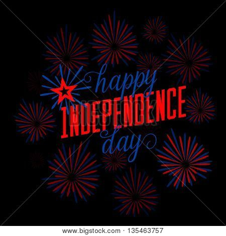 Fourth of July background. Felicitation classic postcard. USA Happy Independence day greeting card. Vector illustration with fireworks, lettering for congratulation american isolated on black