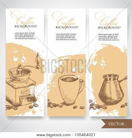 Set of coffee banners. Vintage hand drawn design elements. Vintage coffee machine cup of coffee and turkish coffee pot.