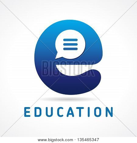 Letter E logo vector icon design template elements with a bubble inside. Education E logo. E-commerce icon