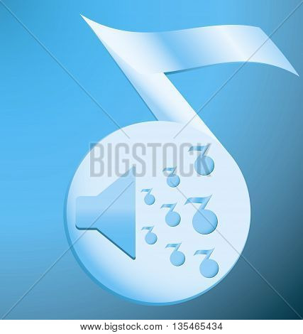 Speaker on a blue musical note silhouette on a blue background