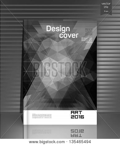 Cover design. The modern concept of cover design in the polygonal style. Photorealistic image covers for books, notebooks, annual report. The optimum combination of graphics, text free space