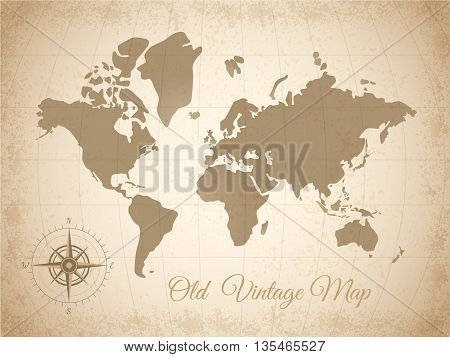 Old colored vintage map with compass at the bottom left corner in grey color vector illustration
