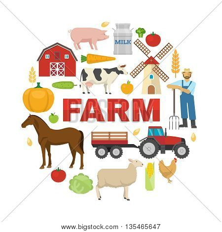 Farm round design with fruit vegetables rural animals barn windmill tractor on white background vector illustration