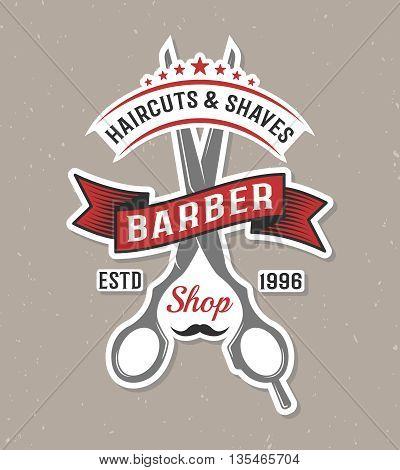 Color barber scissors poster with a hairdressing salon logo on gray background vector illustration