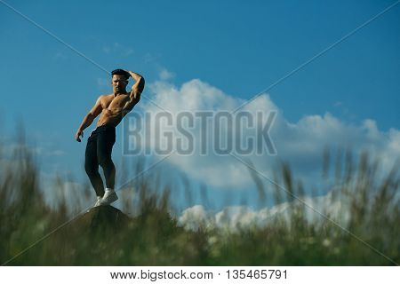 young macho man model athlete with muscular sexy body and bare flexible torso posing outdoor on sky background with green grass copy space