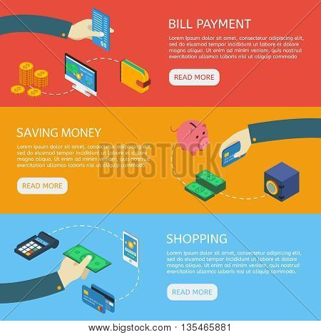 ATM isometric horisontal banners set with bill payment money savings shopping isolated vector illustration