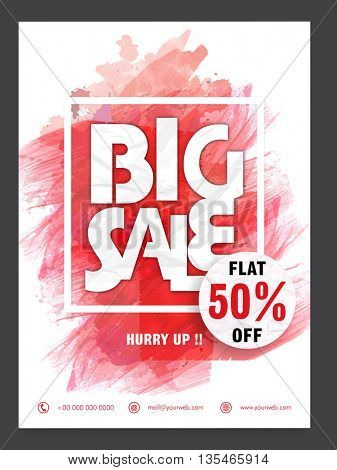 Stylish Big Sale Flyer, Flat Discount Up to 50% Off, Vector Sale Illustration.