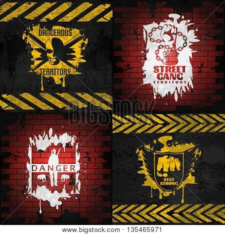 Street fighting compositions with white and yellow combat elements on brick and black backgrounds isolated vector illustration