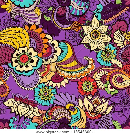 Colored seamless pattern with traditional indian ornamental design. Floral background with indian ornament. Seamless pattern for your design pattern fills web page backgrounds surface textures.