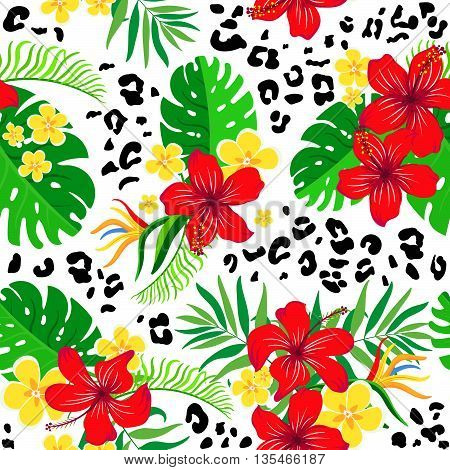 Seamless background with tropical flowers and leopard skin print.Bright exotic background for your design.