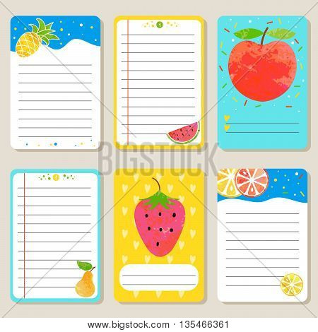 Summer fruit and berry cards. Cute vector illustration for postcards posters notes to do list Journals Card.