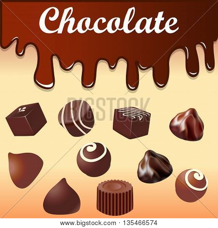 Illustration background with streaks of chocolate and chocolates
