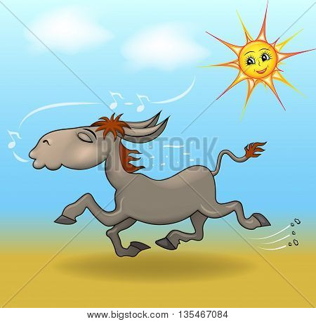 cartoon illustration a donkey is running in the sand and sings f