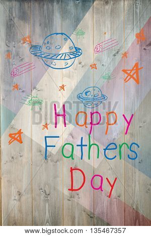 Word happy fathers day and space drawn against colored wood