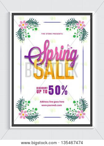 Spring Sale Poster, Up to 30% Off, Sale Background with beautiful flowers, Creative vector illustration.