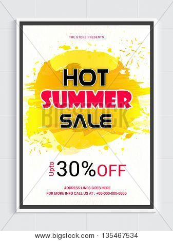 Hot Summer Sale Poster, Abstract Sale Background, Up to 30% Off, Vector illustration.