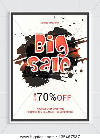 Big Sale Poster, Up to 70% Off, Abstract Sale Background, Vector illustration.