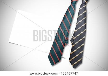 blue tie with diagonal line against white background with vignette