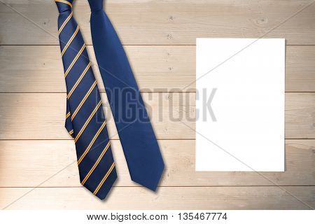 Blue tie against white card