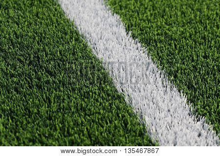 Line on soccer field green grass. Abstract texture.