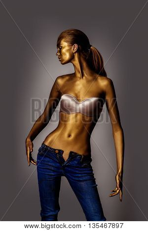 Golden Woman In Bra