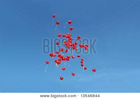 Many red balloons in front of blue sky