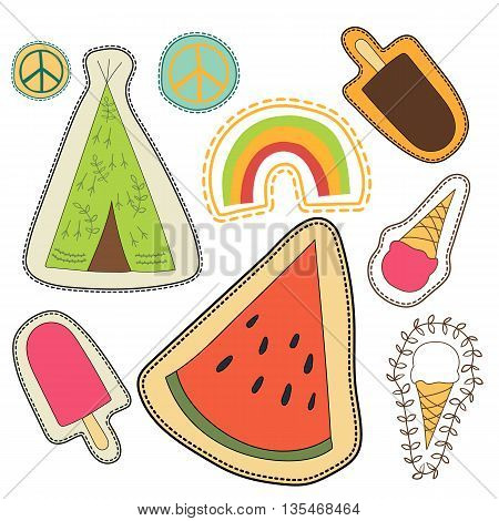 happy embroidery colorful patches collection. vector set illustration for stickers patches magnets greeting card decoration.
