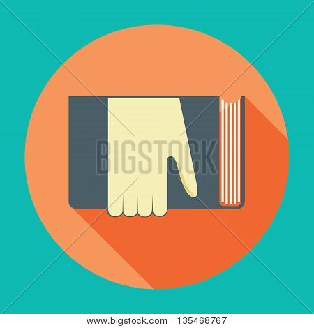 Hand with book. Knowledge, education flat concept. Vector illustration